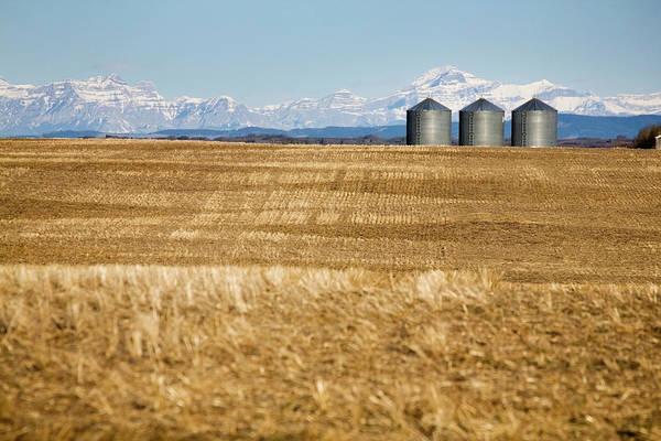 Compartments Photograph - Metal Grain Bins In Stubble Field With by Michael Interisano / Design Pics