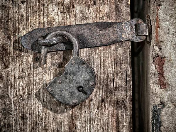 Padlock Photograph - Metal Padlock On Wooden Door by Wladimir Bulgar/science Photo Library