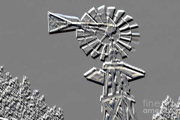 Mixed Media - Metal Print Of Old Windmill In Gray Color 3009.03 by M K Miller