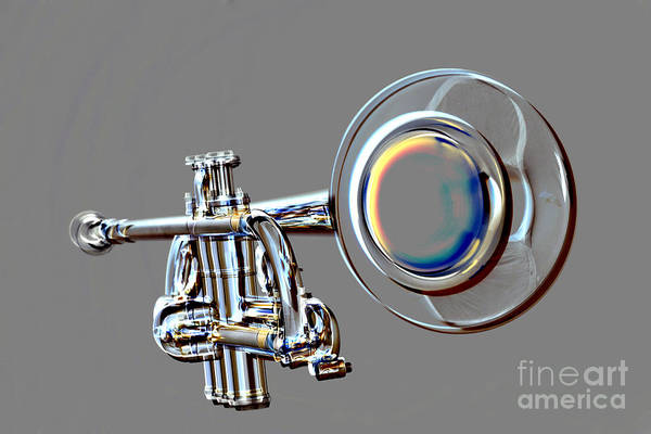 Photograph - Metal Print Trumpet Bell Drawing In Color Isolated 3018.04 by M K Miller