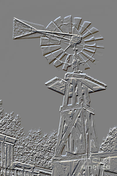 Mixed Media - Metal Print Windmill Antique In Gray Color 3005.03 by M K Miller