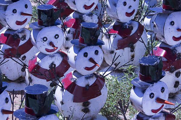 Snowman Photograph - Metal Snowmen by Garry Gay