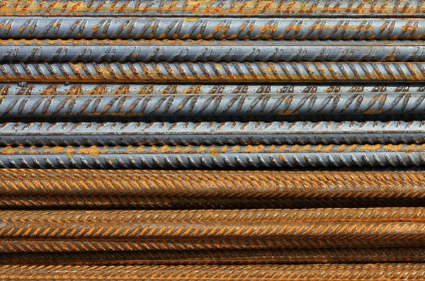 Photograph - Metal Texture Pattern Of Rusty Rebars by Dreamland Media