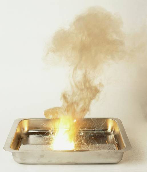 Experiment Photograph - Metal Tray With Explosive Thermite by Dorling Kindersley/uig