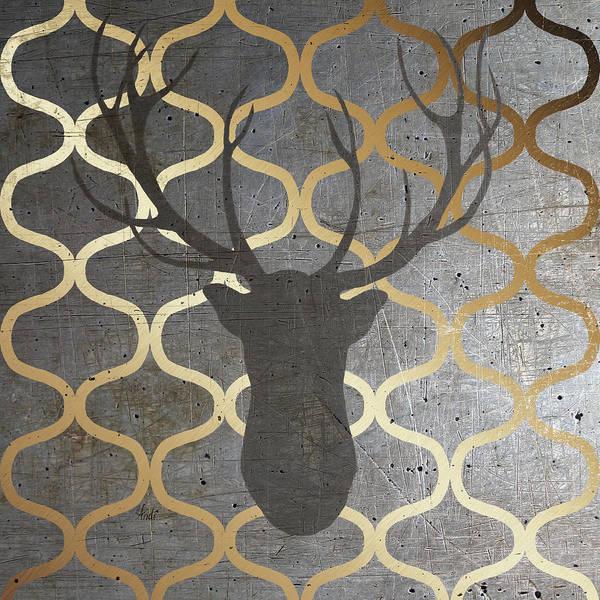 Gold Digital Art - Metallic Deer Nature by Andi Metz