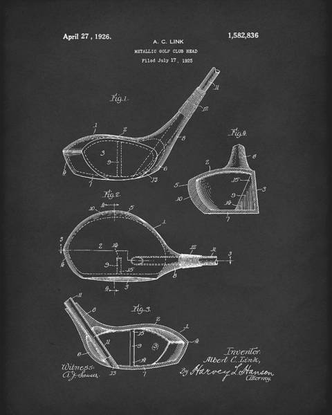 Drawing - Metallic Golf Club Head 1926 Patent Art Black by Prior Art Design