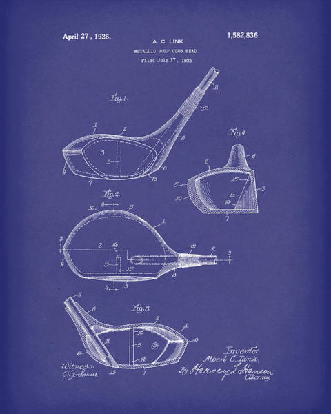 Drawing - Metallic Golf Club Head 1926 Patent Art Blue by Prior Art Design