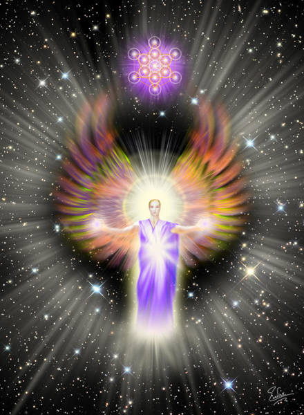 Digital Art - Metatron With Stars by Endre Balogh