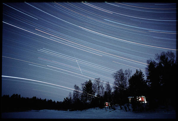 Star Track Wall Art - Photograph - Meteor Track And Star Trails by Pekka Parviainen/science Photo Library