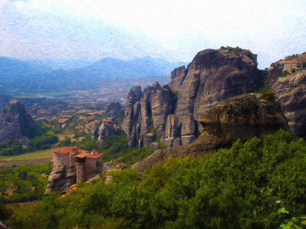 Painting - Meteora Greece Grk1969 by Dean Wittle
