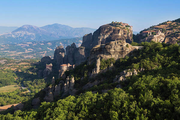 Grecian Photograph - Meteora, Thessaly, Greece. Panorama by Panoramic Images