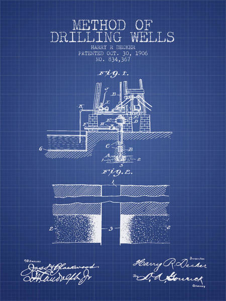 Pump Jack Wall Art - Digital Art - Method Of Drilling Wells Patent From 1906 - Blueprint by Aged Pixel