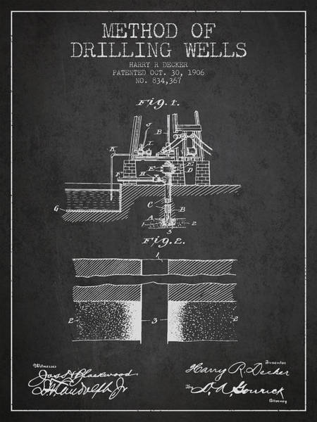 Drilling Wall Art - Digital Art - Method Of Drilling Wells Patent From 1906 - Dark by Aged Pixel