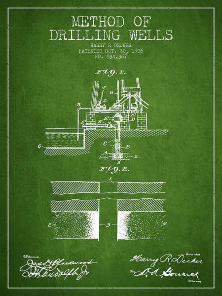 Pump Jack Wall Art - Digital Art - Method Of Drilling Wells Patent From 1906 - Green by Aged Pixel