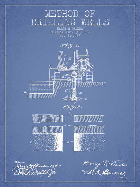 Pump Jack Wall Art - Digital Art - Method Of Drilling Wells Patent From 1906 - Light Blue by Aged Pixel