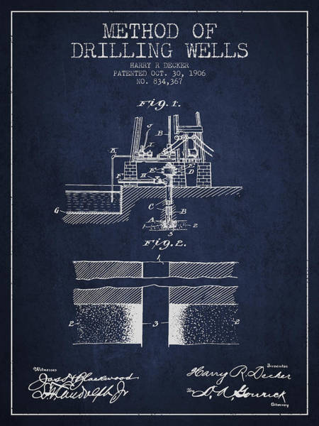 Drilling Rig Wall Art - Digital Art - Method Of Drilling Wells Patent From 1906 - Navy Blue by Aged Pixel
