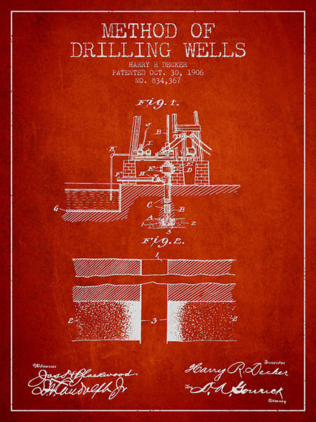 Pump Jack Wall Art - Digital Art - Method Of Drilling Wells Patent From 1906 - Red by Aged Pixel