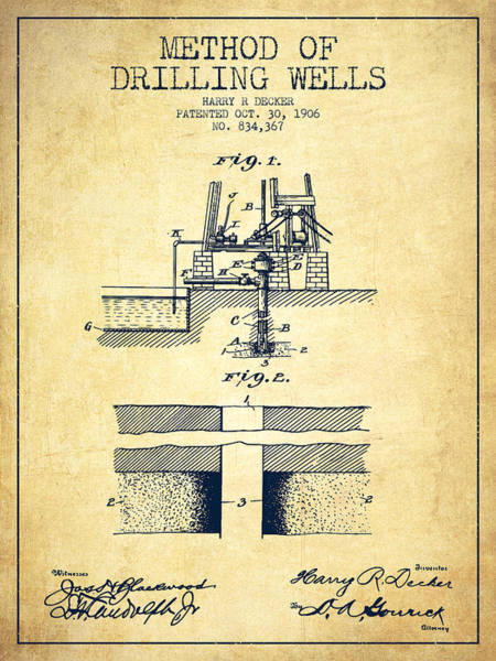 Pump Jack Wall Art - Digital Art - Method Of Drilling Wells Patent From 1906 - Vintage by Aged Pixel