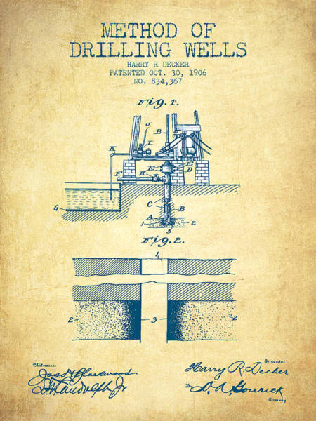 Pump Jack Wall Art - Drawing - Method Of Drilling Wells Patent From 1906 - Vintage Paper by Aged Pixel