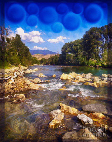 Painting - Methow River Meeting Winthrop Landscape Abstract Painting by Omaste Witkowski