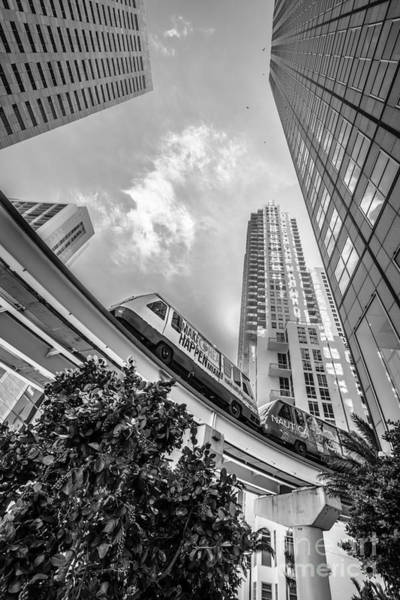 Dade Photograph - Metromover Working In Downtown Miami - Black And White by Ian Monk