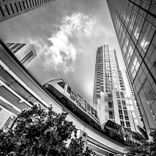 Dade Photograph - Metromover Working In Downtown Miami - Black And White - Square Crop by Ian Monk