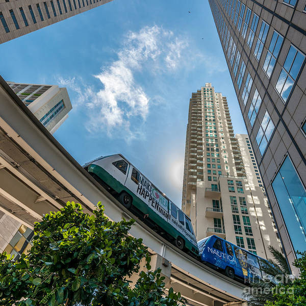 Dade Photograph - Metromover Working In Downtown Miami - Square Crop by Ian Monk