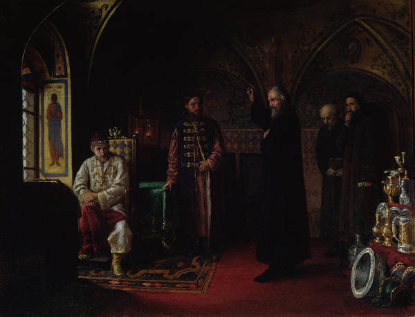 Orthodox Photograph - Metropolitan Philip Of Moscow 1507-90 With Tsar Ivan The Terrible 1530-84 Oil On Canvas by Jakov Prokopyevich Turlygin