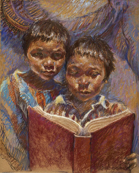 Painting - Mexican Brothers Reading by Ellen Dreibelbis