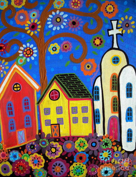 Painting - Mexican Church Town by Pristine Cartera Turkus