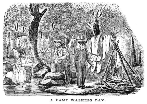 Clothesline Painting - Mexican War Camp by Granger