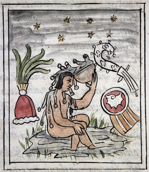 Bather Drawing - Mexico Aztec Bather by Granger