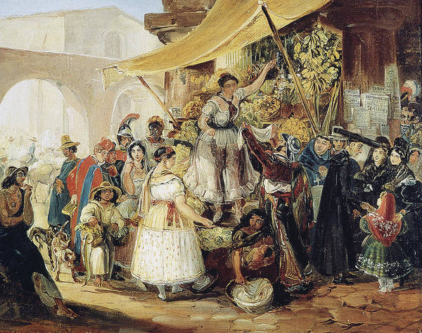 Latina Painting - Mexico Market, 1833 by Granger