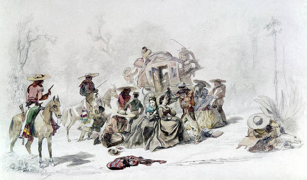 Painting - Mexico Stagecoach Robbery by Granger