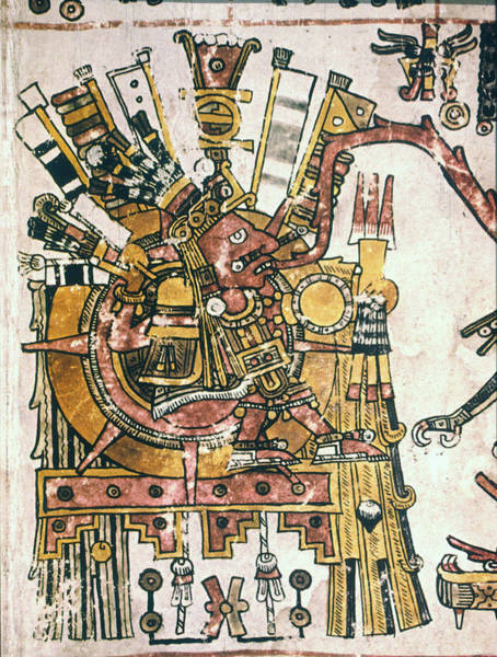 Indian God Painting - Mexico Sun God, C1450 by Granger