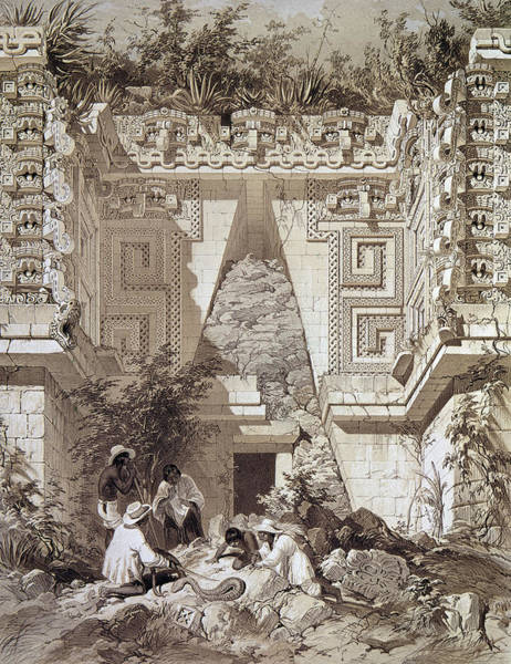 Gateway Arch Painting - Mexico Uxmal Ruins, C1844 by Granger
