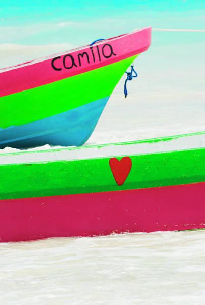 Yucatan Wall Art - Photograph - Mexico, Yucatan, Colorful Boats On Beach by Tetra Images