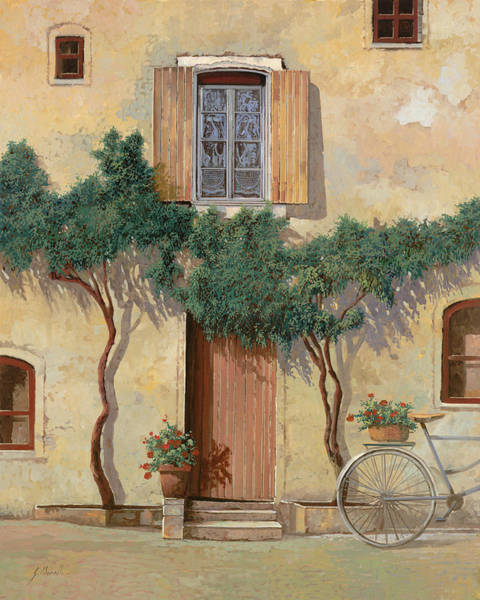 Bicycle Painting - Mezza Bicicletta Sul Muro by Guido Borelli