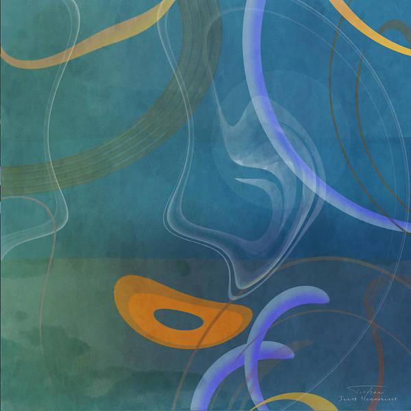 Aqua Drawing - Mgl - Abstract Twirl 04 by MGL Meiklejohn Graphics Licensing