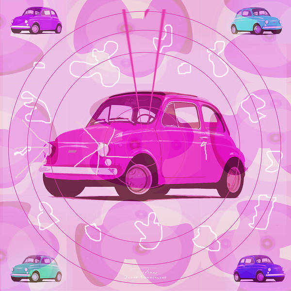 Pink Drawing - Mgl - Automotive Fun Fiat 01 by MGL Meiklejohn Graphics Licensing