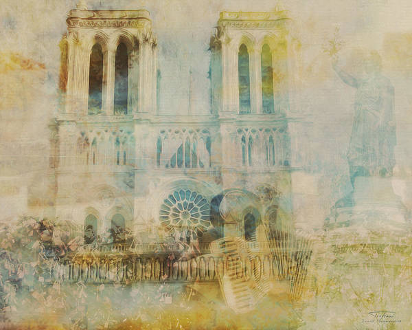 Notre Dame Drawing - Mgl - City Collage - Paris 03 by MGL Meiklejohn Graphics Licensing