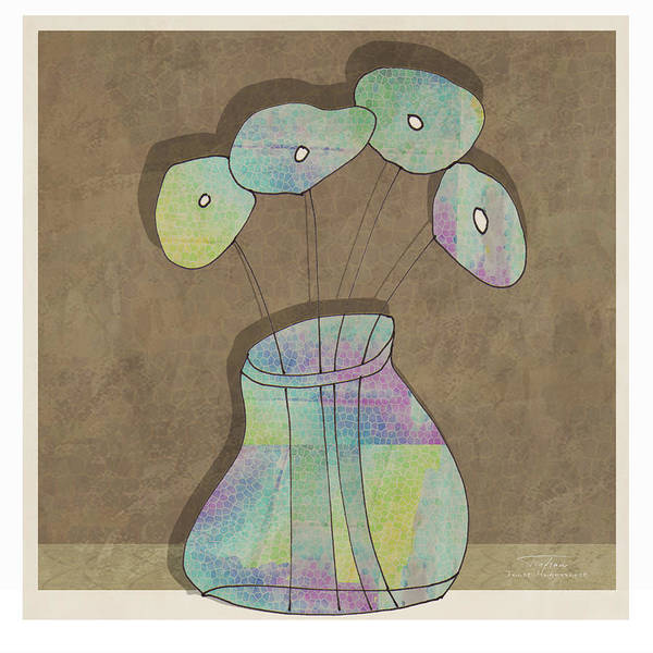 Aqua Drawing - Mgl - Flowers 02 by MGL Meiklejohn Graphics Licensing
