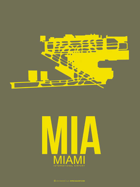Wall Art - Digital Art - Mia Miami Airport Poster 1 by Naxart Studio