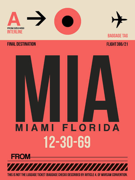 Miami Digital Art - Miami Airport Poster 3 by Naxart Studio
