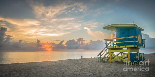 Wall Art - Photograph - Miami Beach - 74th Street Sunrise - Panoramic by Ian Monk