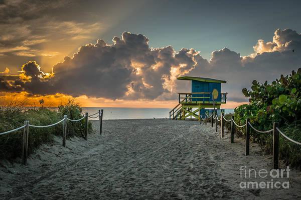 Wall Art - Photograph - Miami Beach Entrance Sunrise - Hdr by Ian Monk
