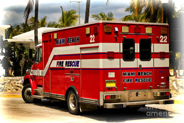 Photograph - Miami Beach Fire Truck by Les Palenik