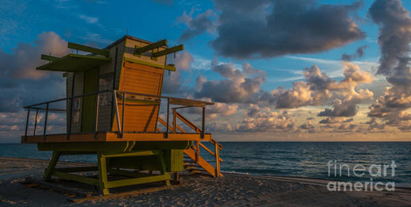 Lifeguard Digital Art - Miami Beach Lifeguard Station Glows From The First Light Of Day - Panoramic by Ian Monk