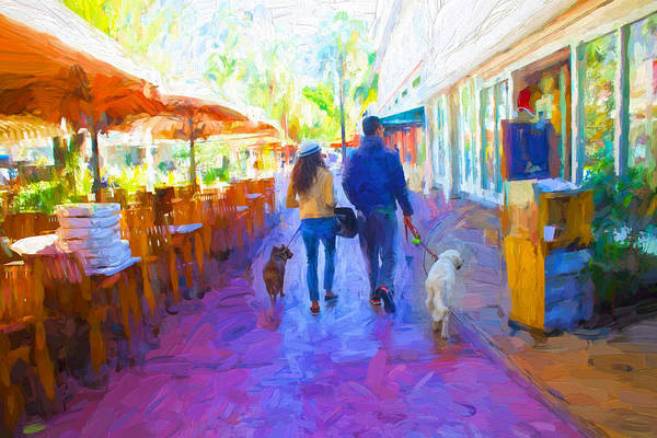 Photograph - Couple Walking In Miami Beach - Miami Beach Series 03 by Carlos Diaz