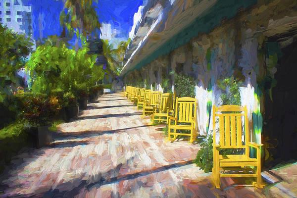 Photograph - Yellow Rocking Chairs 7 - Miami Beach Series 07 by Carlos Diaz